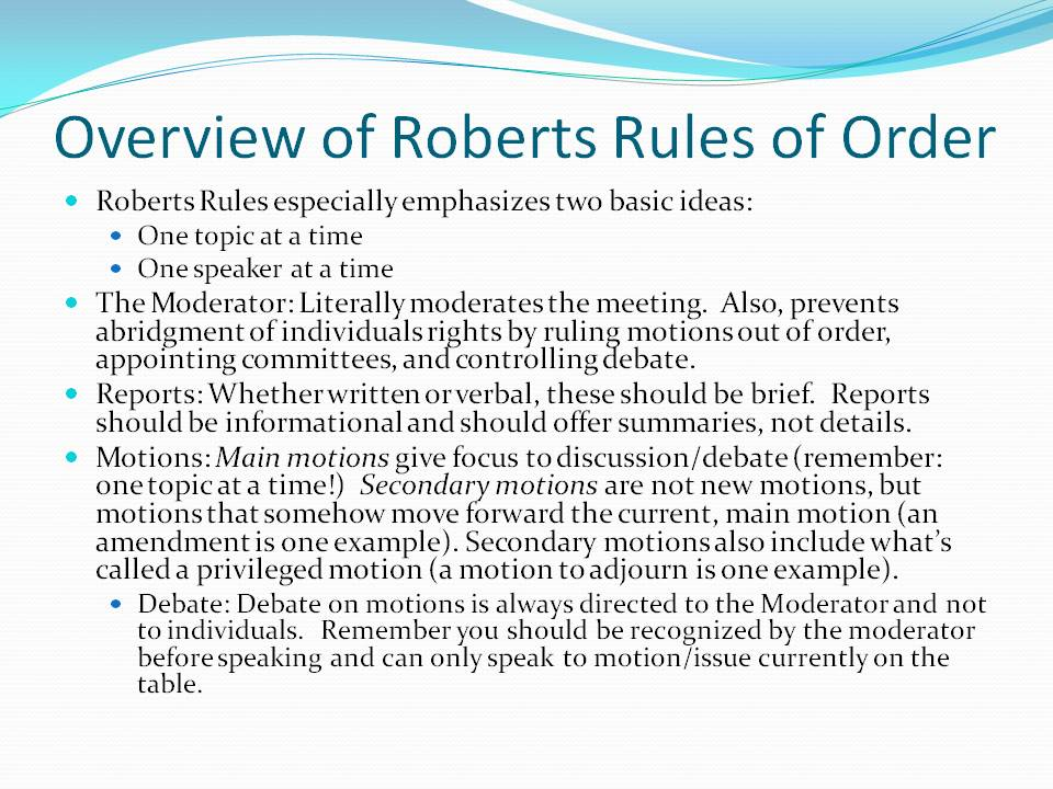 roberts rules of order pdf